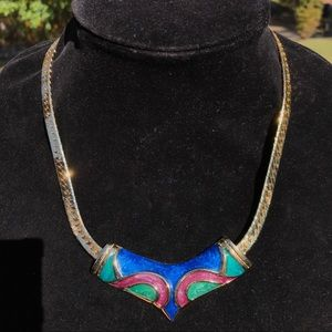 Vintage thick gold enameled necklace